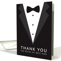Best man thank you card with tuxedo and bow tie card