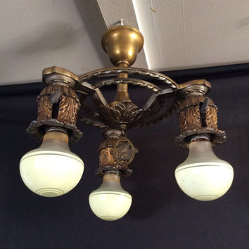 Vintage Antique Art Deco Brass Ceiling  Light Fixture Petite 1920s