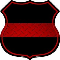 Thin Red Line Firefighter Highway Shield Sign  11 inch  die cut  sign
