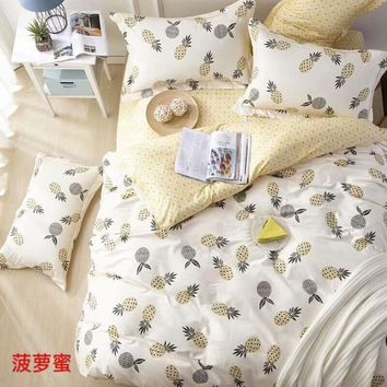 100% Cotton Soft Bed set Pineapple Birds print Cute Bedding Set Twin Queen King size Kids Adults Duvet Cover Bed sheets set