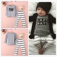 Autumn Toddler Baby Boys letter print Tops Striped Pants Outfit Chidlren Clothing Sets Alternative Measures