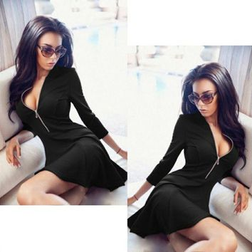 LMFONS Simple Solid Color Exposed Chest Deep V-Neck Middle Sleeve Zip Bodycon Mini Dress