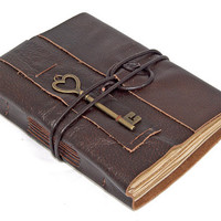 Brown Leather Journal with Tea Stained Pages and by boundbyhand