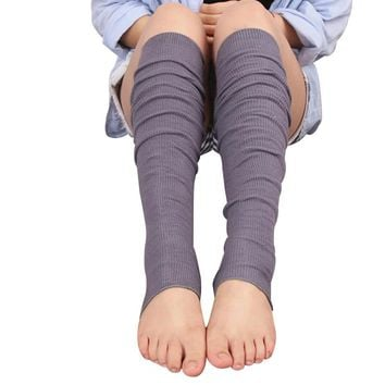 Leg Warmers, Footless Socks, Solid Color, Long Cotton Pile Socks, Open Toe