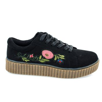 Stealthy02M Black By Bamboo, Embroidery Floral Patchwork Platform Lace Up Creeper Sneaker.