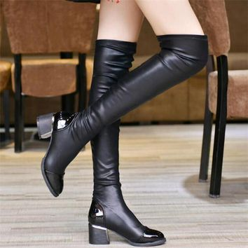 Over The Knee-High Black Boots