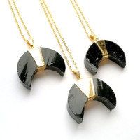 Black Obsidian Moon Necklace Black Moon Jewelry Gold Dipped Crescent Obsidian Tribal Necklace Tribal Jewelry Mineral Necklace Stone Necklace