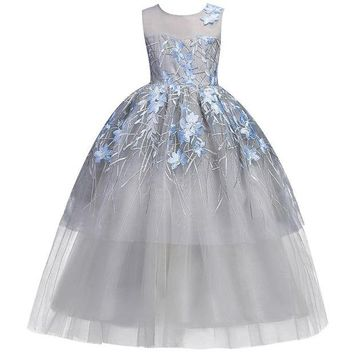 ONETOW 4-20 year youngster Wedding Flower Girl Dress Kids Girls elegant Princess Pageant Party Dress Teen beauty Tulle long Dress