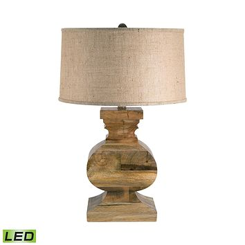 Curved Block Solid Wood LED Table Lamp