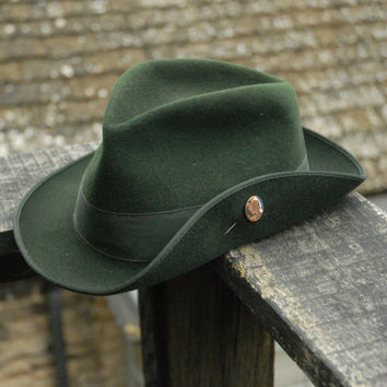 Vintage Traditional Hunting Hiking Bavarian Shooting  Trachtenhut Tyrolean Felt Fedora Trilby Hat UK 7 1/8
