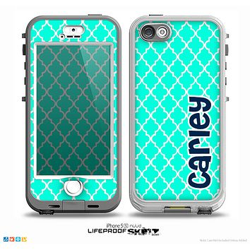 The Navy Blue Name Script Teal Green Morocan Pattern Skin for the iPhone 5-5s nüüd LifeProof Case