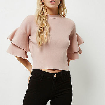 Petite pink knit double frill sleeve top - Knitwear - Sale - women
