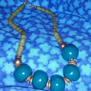 Chunky Bold Olive Green and Blue Bib Statement Necklace With Large Stones