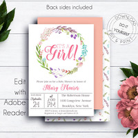 Baby Girl Shower Invitation, Floral Wreath Baby Shower Invitation Template, Watercolor, Printable Invitation, Floral Baby Shower, Baby Party