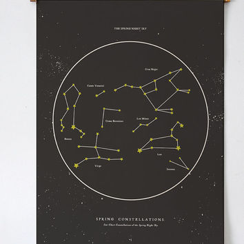 Spring Night Star Chart - PRINTABLE FILE. Seasonal Constellations. Zodiac Celestial Astronomy Print. Night Sky Chart. Star Map Zodiac Print.