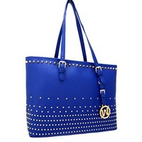 Classy! Studded Fashion Tote Purse Bag (Blue)
