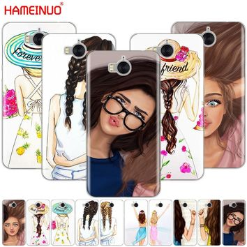 HAMEINUO Girls Brunette Blonde Best Friends cell phone Cover Case for huawei honor 3C 4X 4C 5C 5X 6 7 Y3 Y6 Y5 2 II Y560 2017