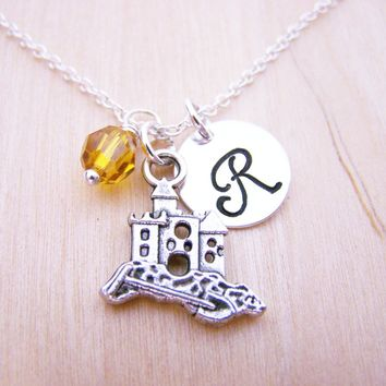 Summer Sand Castle Charm Swarovski Birthstone Initial Personalized Sterling Silver Necklace / Gift for Her - Beach Necklace - Summer Jewelry
