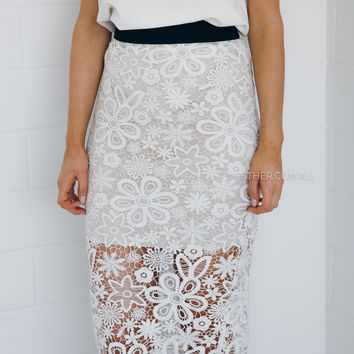 alex lace skirt - ivory