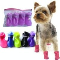 Four season waterproof pet fashion shoes dog and cat's rain boots Rubber Anti Slip Skid puppy Shoes Candy Colors and protect pet's paws [8321370375]