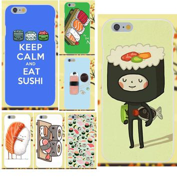 For Apple iPhone 4 4S 5 5C SE 6 6S 7 8 Plus X Galaxy Grand Core II Prime Alpha Soft Accessories Case Many Sushi Style Kawaii