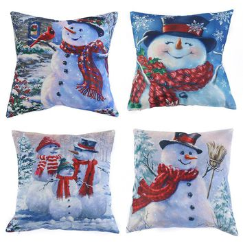 Christmas Snowman Pillow Case Covers