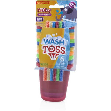 Nuby Wash or Toss 10 oz. Cups with Straw + Lid (6 pack)