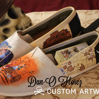 Pirates of the Carribean Custom painted Disney TOMS or Vans Artwork and Shoes included