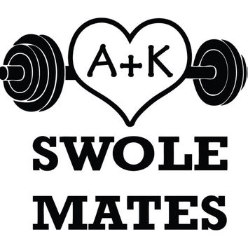 Custom Swole Mates Dumbbell Heart - Choose your Initials! Decal Sticker