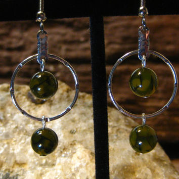 Dragons Vein Agate Notched Hoop Earrings, Gifts for her from The Hidden Meadow
