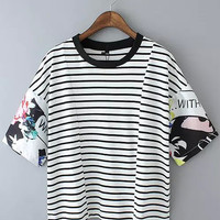 Black and White Striped Printed Short Sleeve T-Shirt