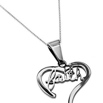 """Christian Womens Stainless Steel Abstinence Faith Handwriting Heart Necklace for Girls on a 18"""" Chain - Purity Necklace, Chastity Necklace, Christian Necklace"""