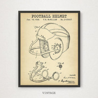 Football Helmet Patent Art, Digital Download, American Football Poster, Sports Helmet Blueprint, Game Room Decor, Football Gifts, Printable