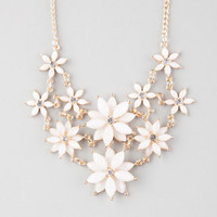 Full Tilt 2 Row Facet Flower Statement Necklace White One Size For Women 25576315001