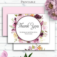 Marsala Wedding Thank You, Customized Wedding, Marsala Watercolour Printable Cards, Greeting Cards, Printable Thank You, Floral Thank You