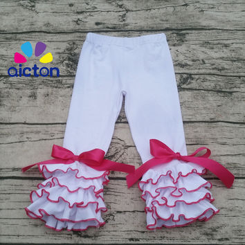 Newest children boutique bows leggings white ruffle pants with triple icing ruffle pants