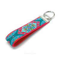Turquoise Blue and Pink Medallion Flower Fabric Key Fob Keychain
