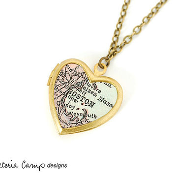 Boston Map Necklace on Small Vintage Brass Heart Locket, Antique Map Jewelry, Massachusetts, New England