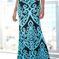 Black and Aqua Printed Maxi Skirt