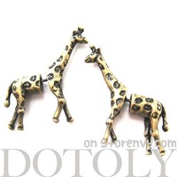3D Fake Gauge Realistic Giraffe Animal Stud Earrings in Bronze