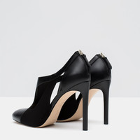 COMBINED LEATHER HIGH HEEL SHOES