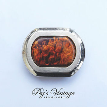 Vintage Silver Metal Tortoise Shell Belt Buckle/LCK Antique Tortoise Shell/Celluloid Buckle