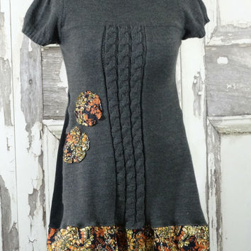 Grey Sweater Dress Batik Accents Upcycled Clothing Eco Clothing Boho Chic Junk Gypsy Style in Large