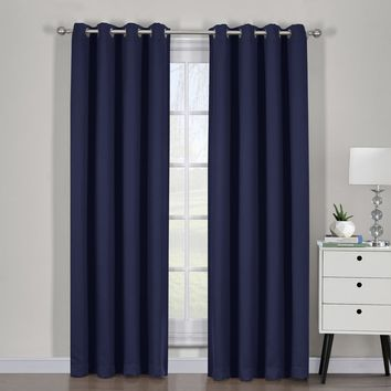 Navy Ava Blackout Weave Curtain Panels With Tie Backs Pair (Two Panels )
