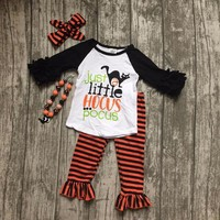 Fall baby girls Halloween clothes children just little hocus pocus outfits cotton long sleeve with stripes pant match accessory