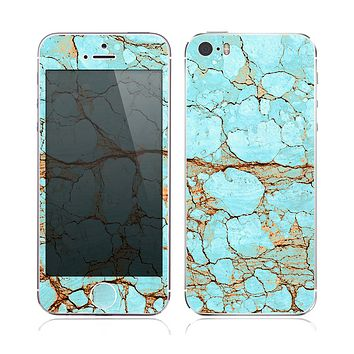 The Cracked Teal Stone Skin for the Apple iPhone 5s