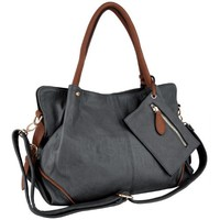 MG Collection LALANIE Slouchy Soft Shopper Hobo Handbag w/Zippered Pouch