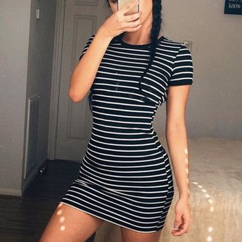Stripe O Neck Mini Dress