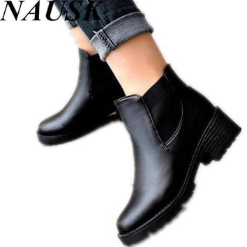 Promotional Winter Autumn Women Boots Platforms Square Heel Ankle Boots Paint Leather Boots Motorcycle Botas Lady Shoes