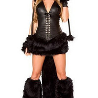 Deluxe Black Cat Costume Faux Fur Cheap Sexy Adult Women Halloween Costumes 2012 - Pink Queen